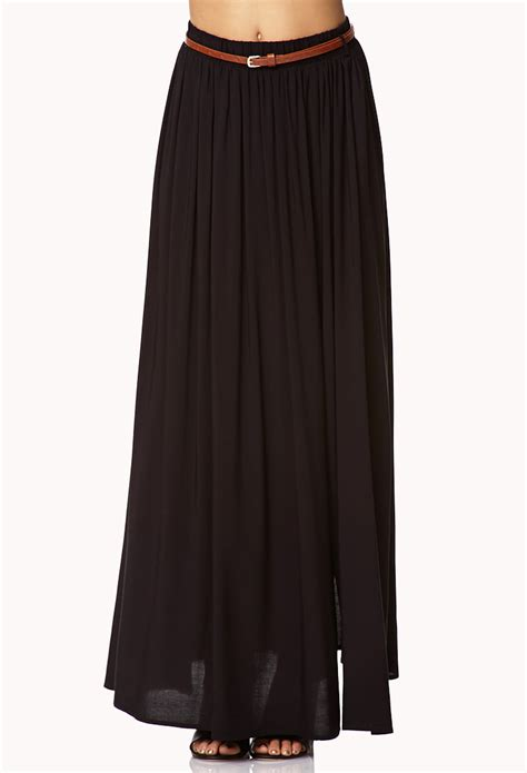 forever 21 front slit maxi skirt w belt in black lyst