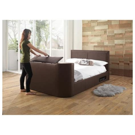 Buy Charlotte Double Gas Lift Tv Bed Frame Brown From Our Bed Frames With Tv Lifts