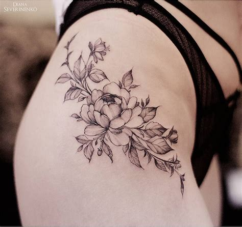 hips tattoo designs inspired flowers design on hip by dianaseverinenko