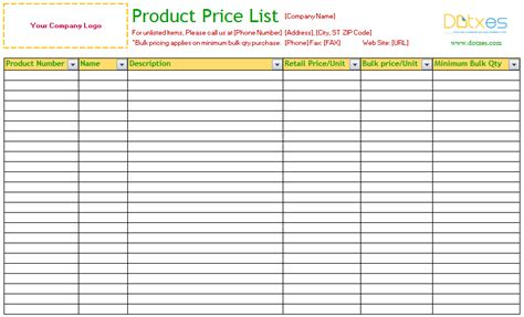 product list template product price list template standard dotxes