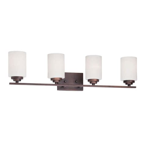 bronze vanity lighting bathroom lighting the home depot lights and ls millennium lighting 4 light rubbed bronze vanity light with etched white glass 3184 rbz the