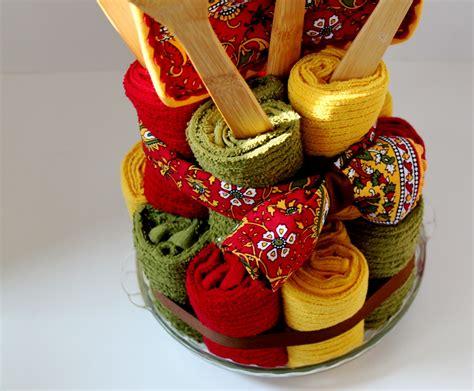 how to make a tea towel cake for bridal shower dish towel cake a bridal shower gift the cottage