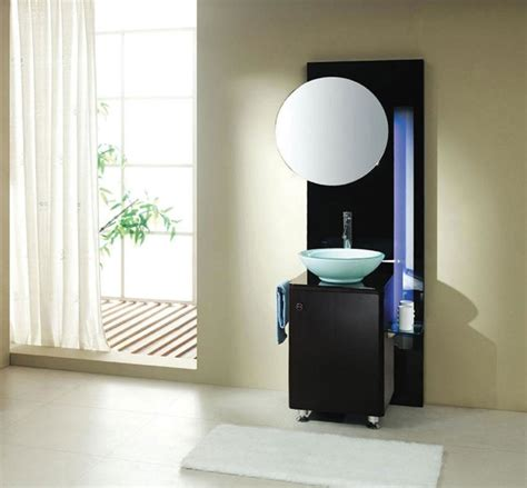 bathroom modern small black bathroom vanity designed with blue light and white bowl sink also