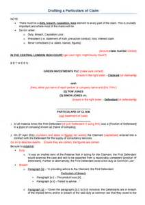 statement of claim template claim form and particulars of claim oxbridge notes the