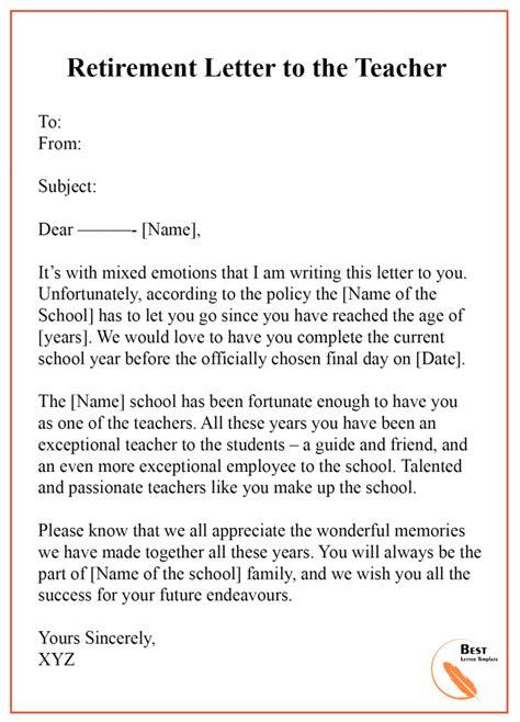 retirement letter template format sample