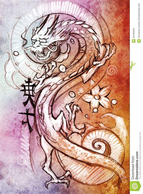 de kunst van de tatoegering schets van een japanse draak