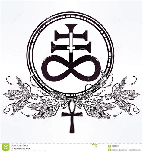 satanic cross tattoo the satanic cross symbol illsutration stock vector