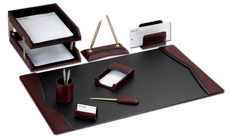 Desk Accessories Sets D7020 Burgundy Contemporary Leather 10 Desk Set