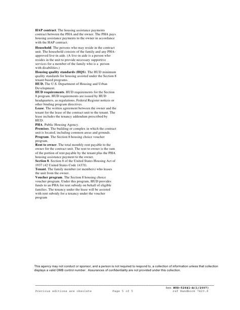section 8 tenancy addendum hud tenancy addendum
