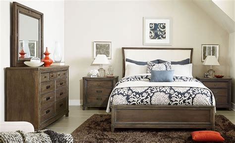 studio bedroom furniture park studio weathered taupe upholstered sleigh bedroom set