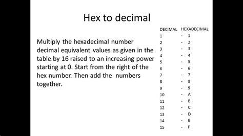 converter hexadecimal to decimal how to convert hex to decimal manually youtube