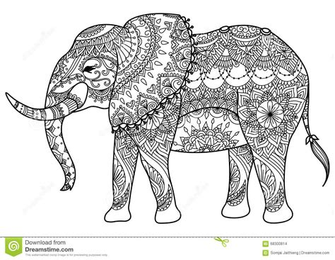 elephant coloring pages aztec designs mandala elephant stock vector image 68300814