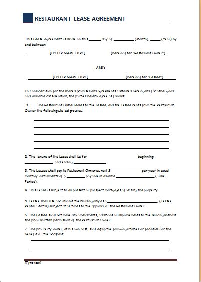 free restaurant lease agreement template lease contract sle etame mibawa co