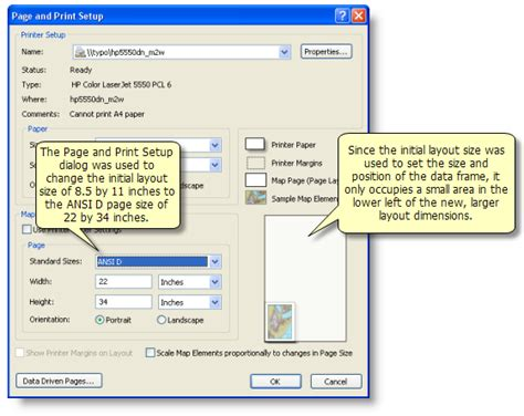 arcmap layout view page size about map printing help arcgis for desktop