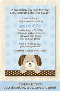 puppy baby shower invitation editable by littleprintsparties