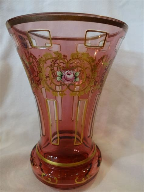 Antique Vases For Sale by Bohemian Cranberry Cut To Clear Vase With Enamaling For