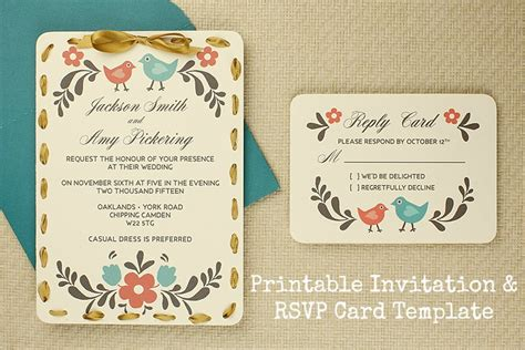 diy wedding card template diy tutorial free printable invitation and rsvp card