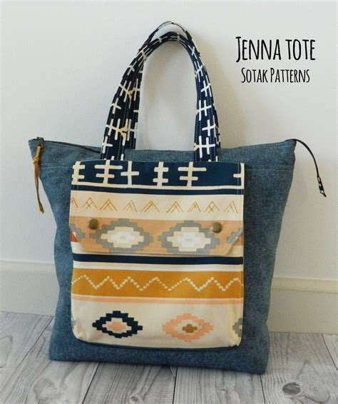 Pattern Tote Bag With Zipper | jenna tote bag pdf sewing pattern instant download zipper