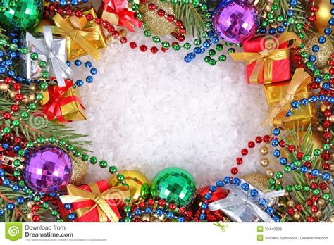frame of christmas decorations stock image image of