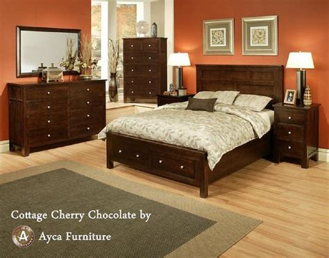 Cherry Bedroom Furniture 4 Pc Ayca Cottage Solid Cherry Panel Bedroom Set In Chocolate
