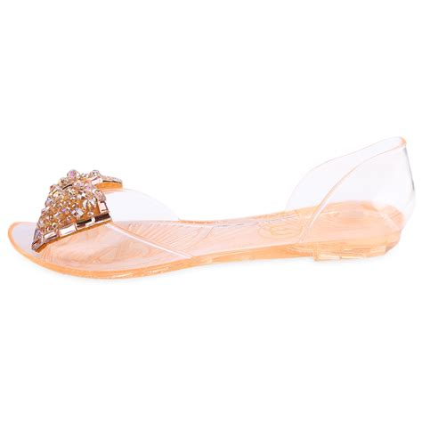 jelly shoes flats summer rhinestone bowknot jelly shoes peep toe