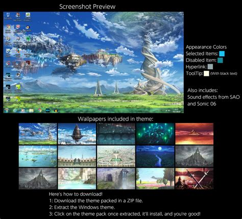 themes for windows 7 online sword art online windows 7 theme by thewolfbunny on deviantart