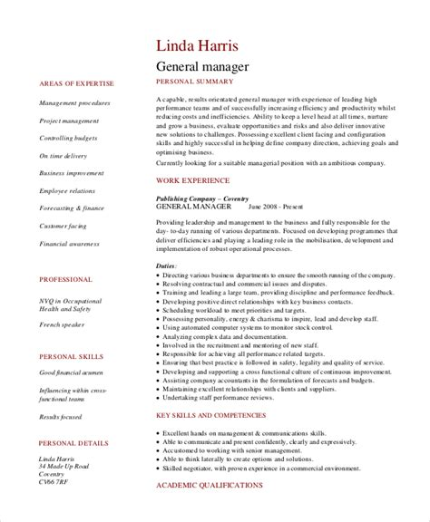 general manager resume sles 8 retail manager resumes free sle exle format