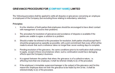 Disciplinary And Grievance Procedures Template grievance procedure template bizorb