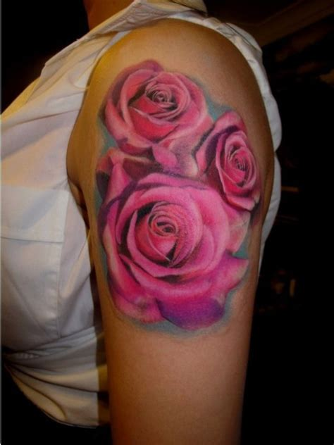 pink rose tattoos 3d pink tattoos on left shoulder