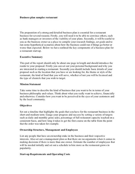 proposal format restaurant sle business plan proposal restaurant