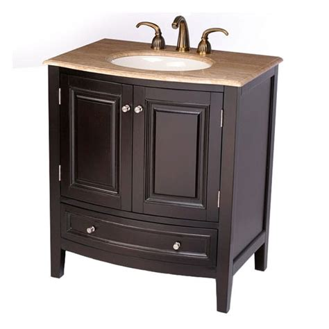 Vanity With Cabinet On Top by Silkroad Exclusive 32 Inch Travertine Top Bathroom