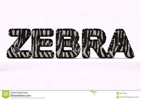 4 Letter Words Zebra word zebra with fur style stock photography