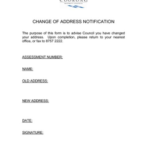 address change notice template address change template masir
