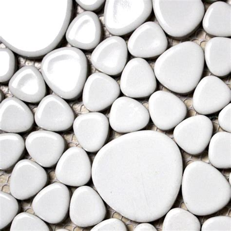 white porcelain tile backsplash pebble mosaic ceramic tile aty1103