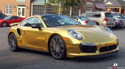 Goldener Porsche by Chrome Gold Porsche 911 Turbo S Acceleration