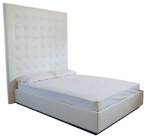 cool contemporary white leatherette tufted king bed modern contemporary white genuine leather tufted bed xxt