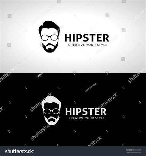 hipster logo geek logo man old school logo template stock