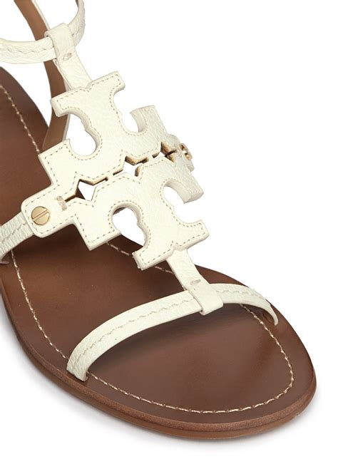 white burch sandals lyst burch chandler cutout logo leather sandals