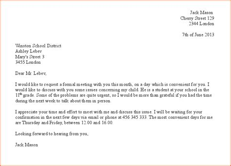 Request Letter Via Email 7 Formal Meeting Bookletemplate Org