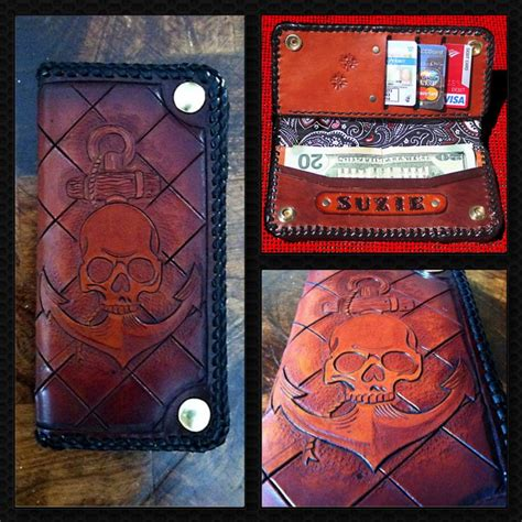 Handmade Biker Wallet - handmade handtooled custom leather biker wallet