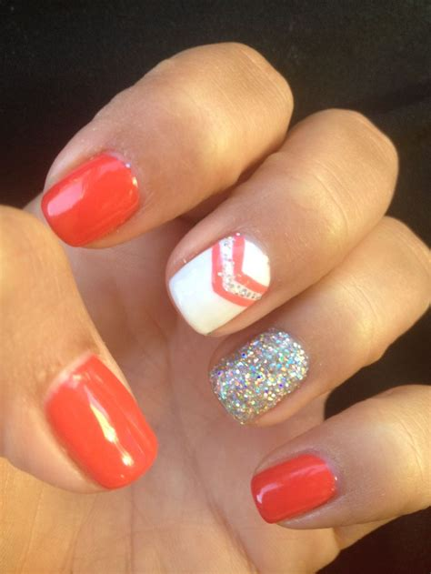 orange pattern nails orange nails with chevron and glitter nail nails