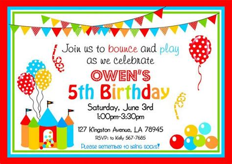 Diy Bounce Card Template by Bounce House Invitations Bouncy Castle Printable