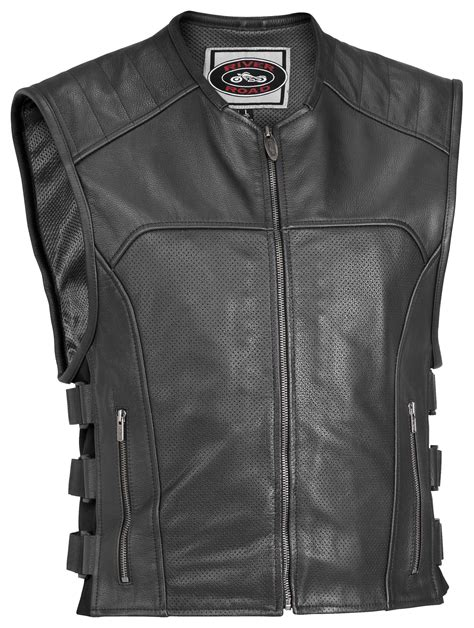 perforated leather motorcycle river road ruffian perforated leather vest revzilla