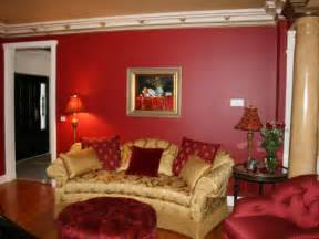 Traditional red and gold living room with art amp marble column