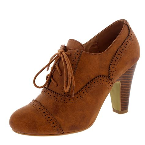 Heels Claudio 2 Brown brogue lace up ankle boot cuban heel work