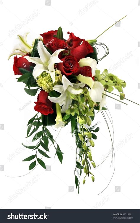 Wedding Flower Bunch by A Wedding Bunch Of Flowers On White Background Stock Photo