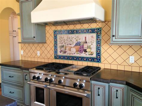 hand painted tiles for kitchen backsplash quot allison s lyman s cherub quot wine and cheese hand painted
