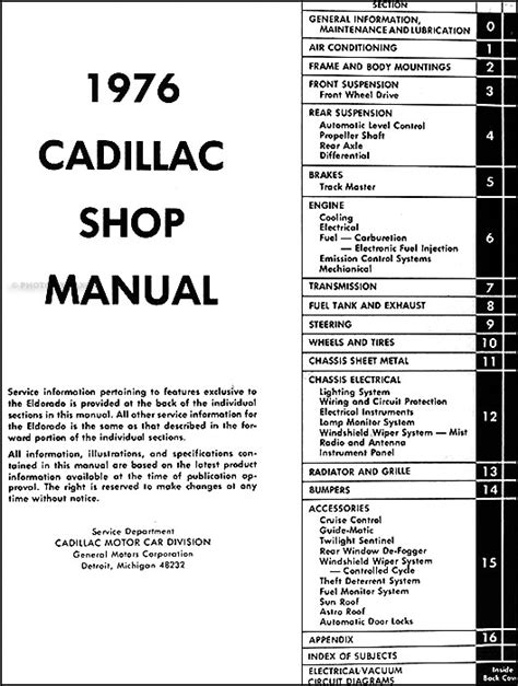 cadillac manual best repair manual download 1976 cadillac repair shop manual original