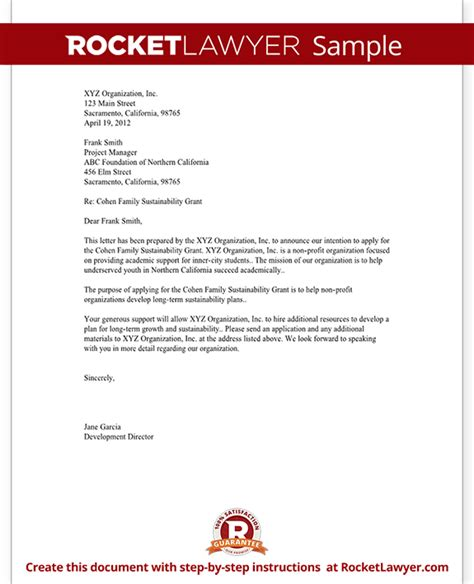 Letter Of Intent Template Letter Of Intent For Grant For Non Profit Template With Sle