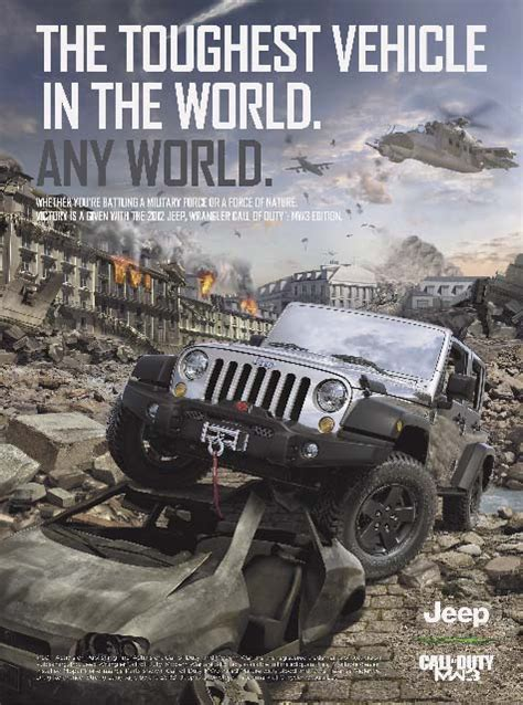 jeep wrangler ads jeep brings video game to life with wrangler call of duty